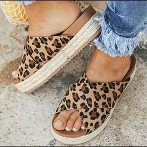 Cheetah Print Open Toe Sandals
